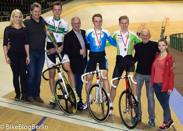 Jeremy Lendowski (rechts, grün-weißes Trikot), Berliner Meisterschaft Omnium 2014