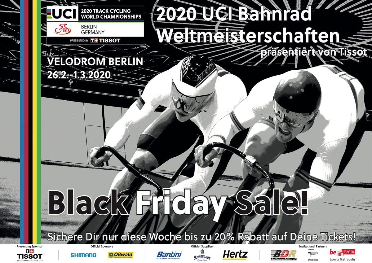 Werbeplakat zum Black Friday Sale der Bahn-WM. Abgebildet sind zwei Bahnradfahrer beim Sprint im Berliner Velodrom.